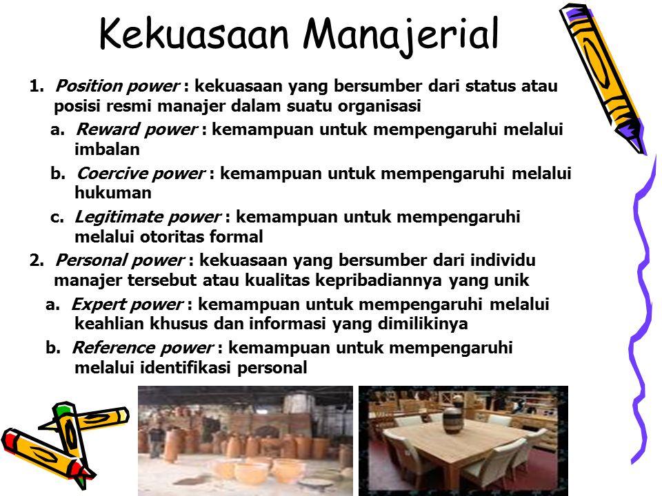 Kekuasaan Manajerial 1. Position power : kekuasaan yang bersumber dari status atau posisi resmi manajer dalam suatu organisasi.