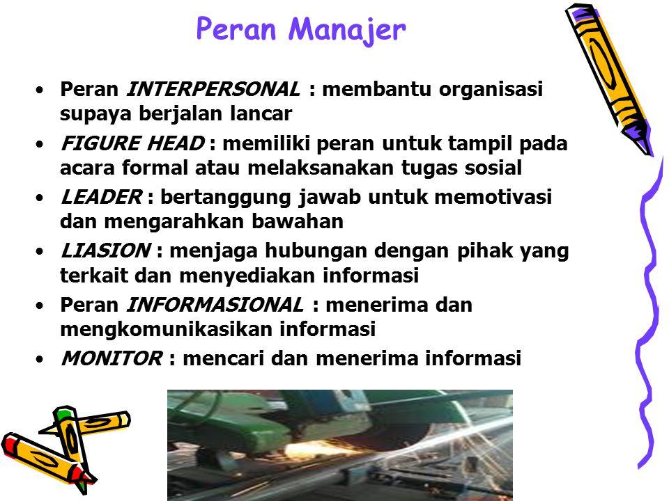 Peran Manajer Peran INTERPERSONAL : membantu organisasi supaya berjalan lancar.