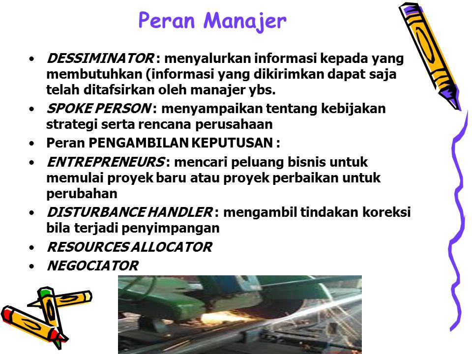 Peran Manajer DESSIMINATOR : menyalurkan informasi kepada yang membutuhkan (informasi yang dikirimkan dapat saja telah ditafsirkan oleh manajer ybs.