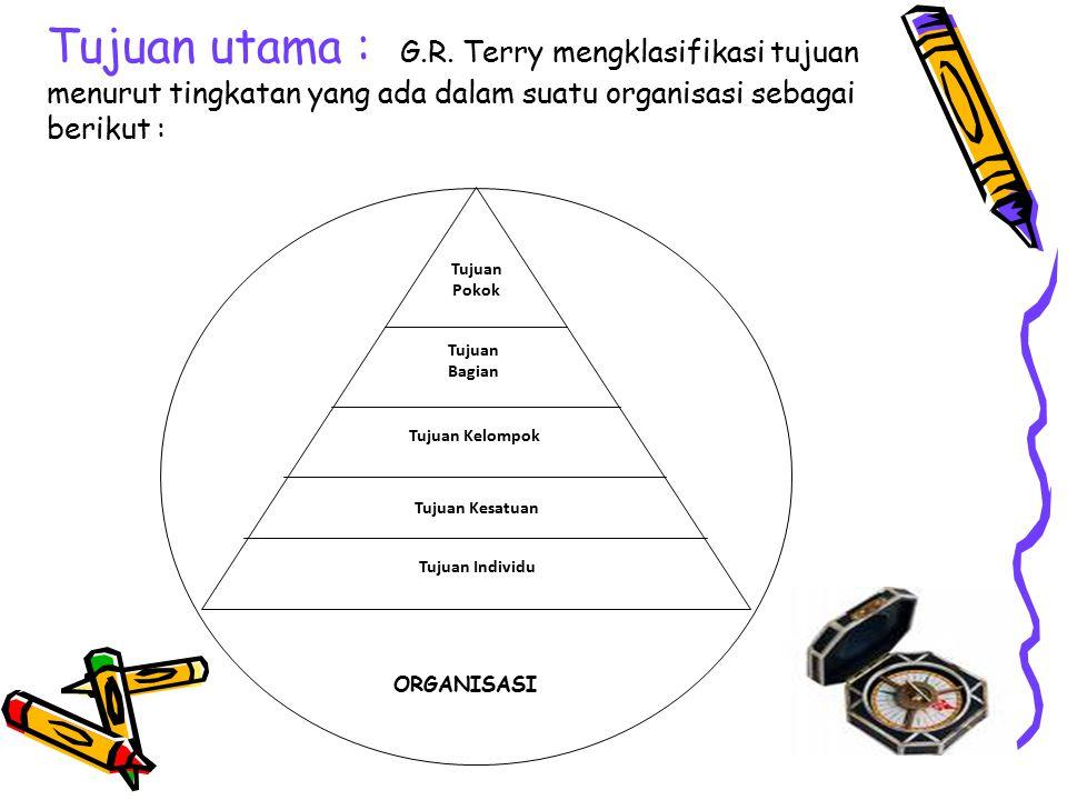 Tujuan utama : G.R. Terry mengklasifikasi tujuan menurut tingkatan yang ada dalam suatu organisasi sebagai berikut :