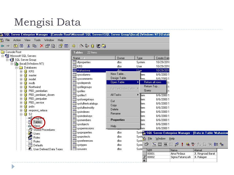 Mengisi Data