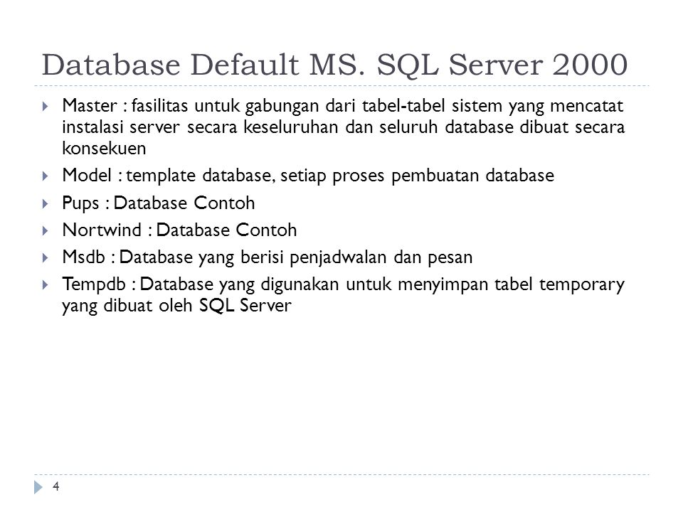 Database Default MS. SQL Server 2000
