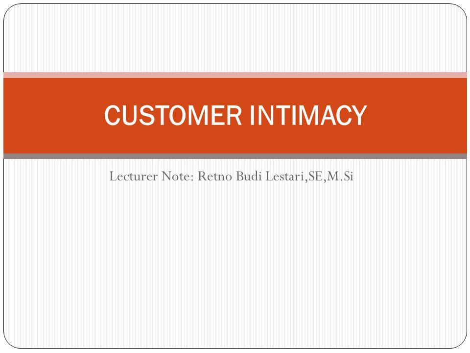 Lecturer Note: Retno Budi Lestari,SE,M.Si