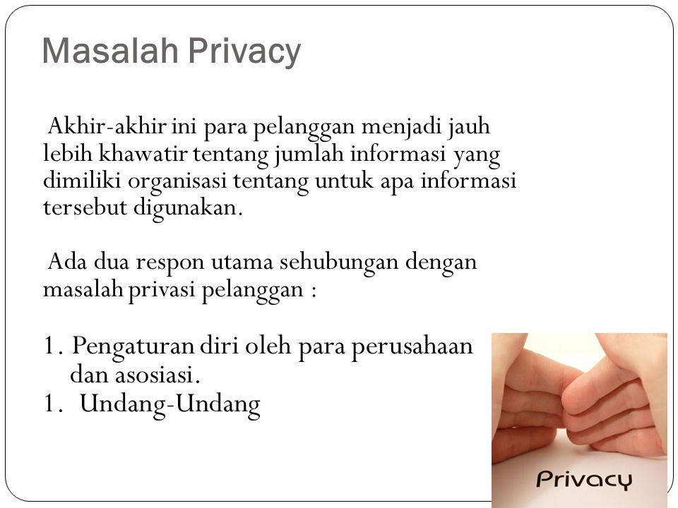 Masalah Privacy Pengaturan diri oleh para perusahaan dan asosiasi.