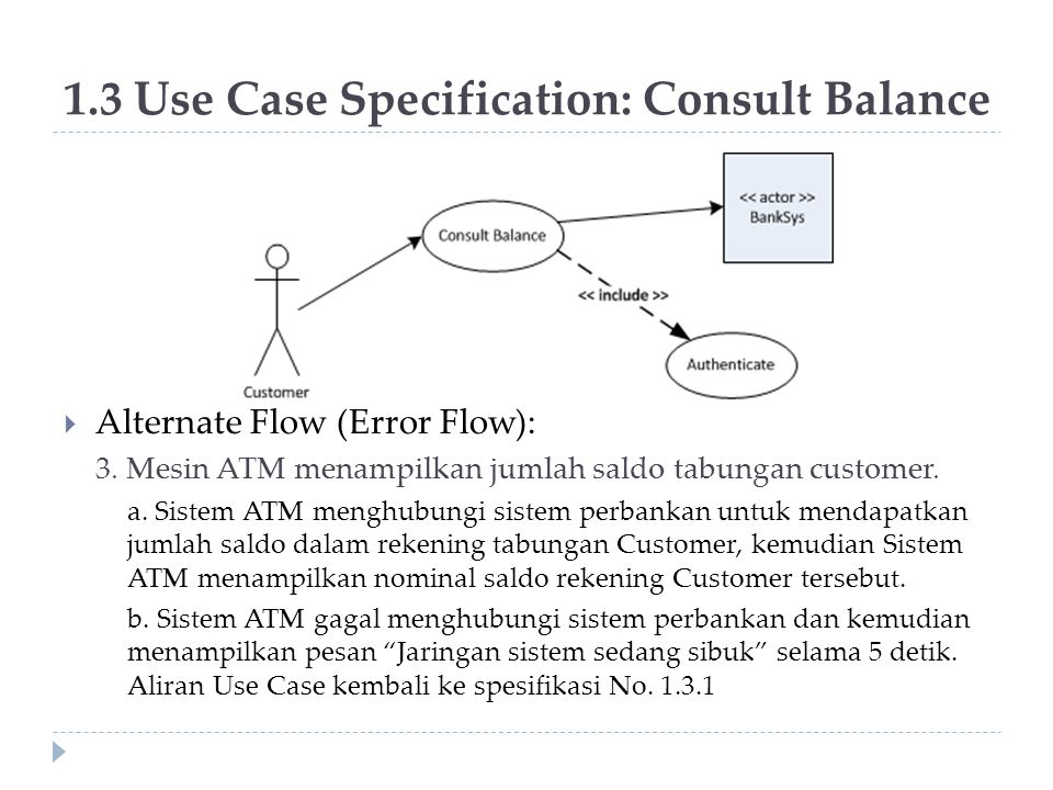 1.3 Use Case Specification: Consult Balance
