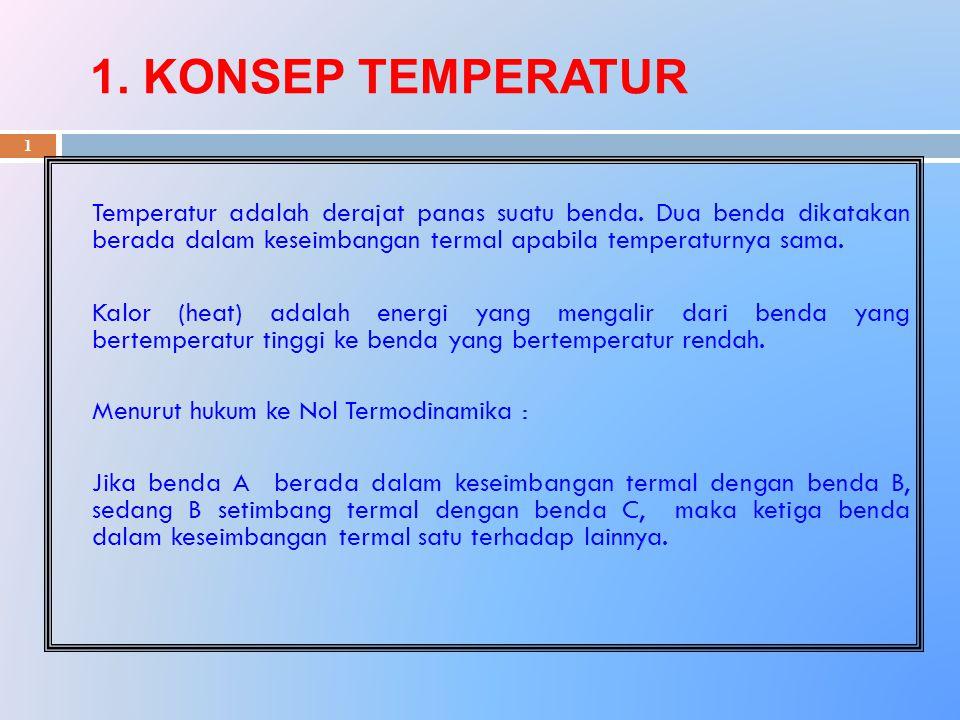 1. KONSEP TEMPERATUR Temperatur adalah derajat panas suatu benda. Dua benda dikatakan berada dalam keseimbangan termal apabila temperaturnya sama.