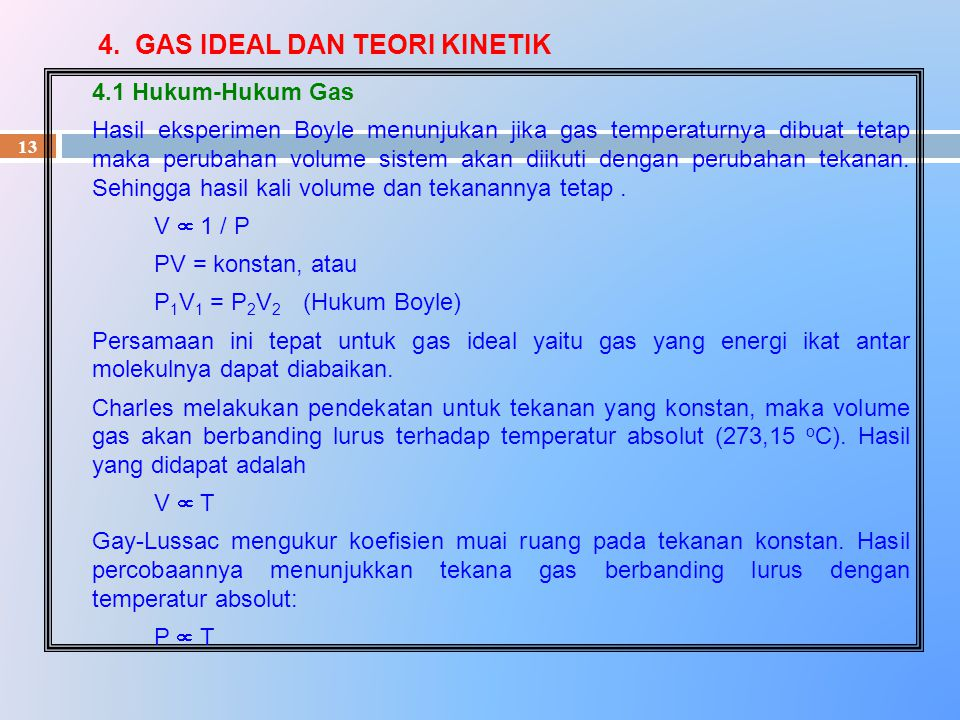 4. GAS IDEAL DAN TEORI KINETIK
