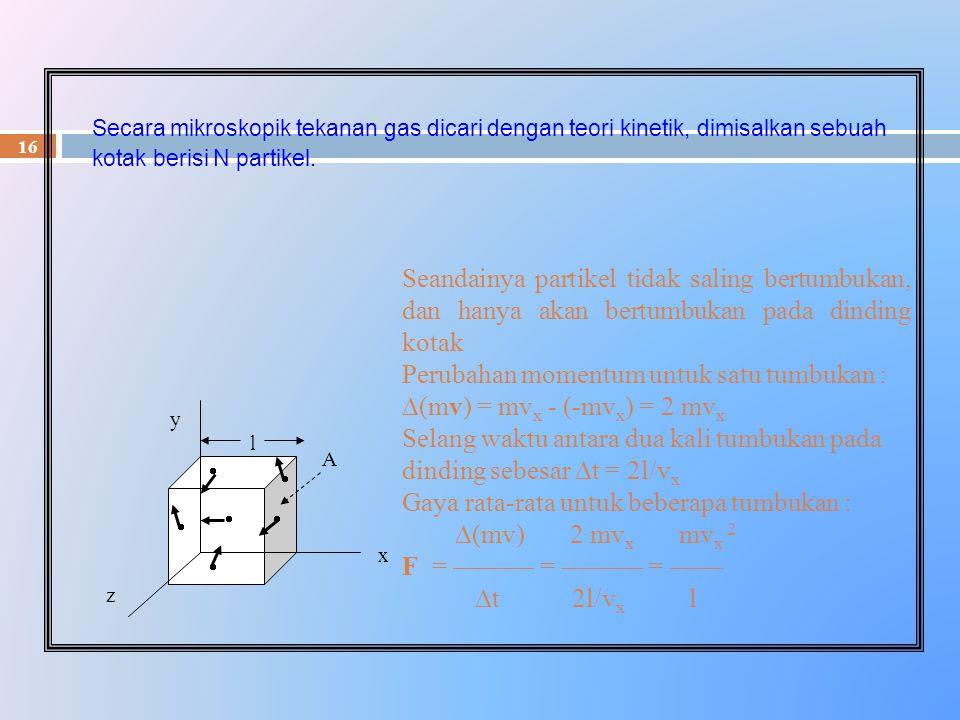 Perubahan momentum untuk satu tumbukan : (mv) = mvx - (-mvx) = 2 mvx