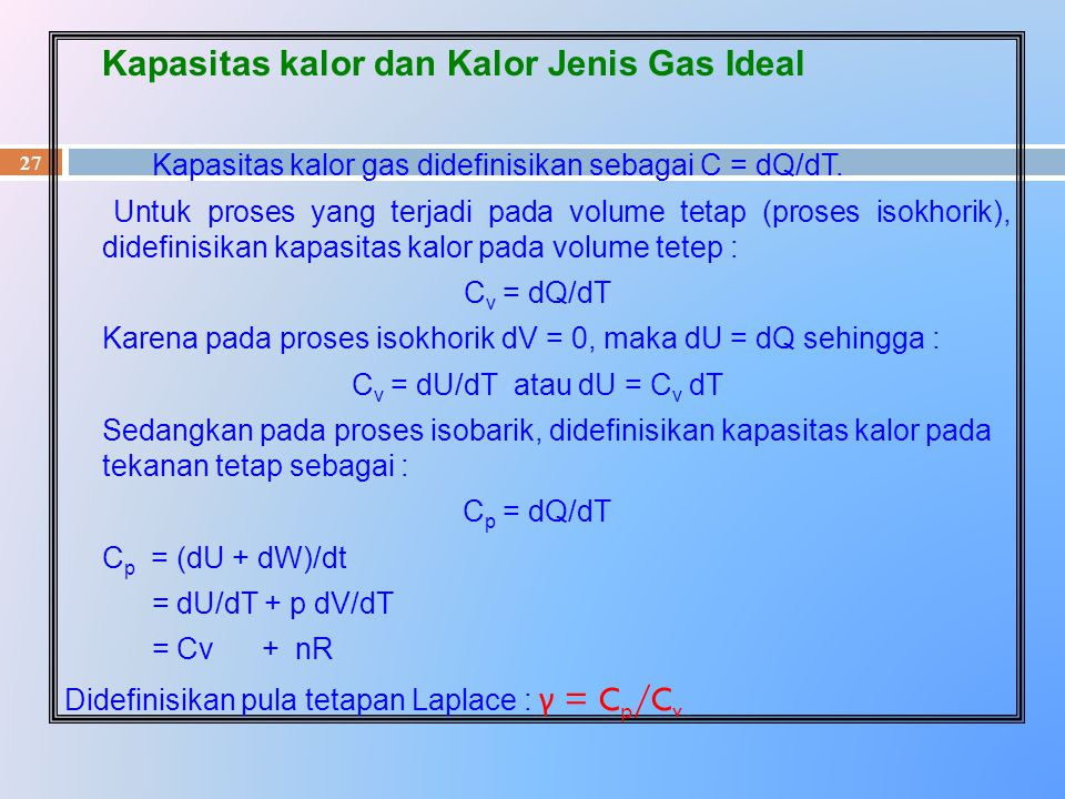 Kapasitas kalor dan Kalor Jenis Gas Ideal