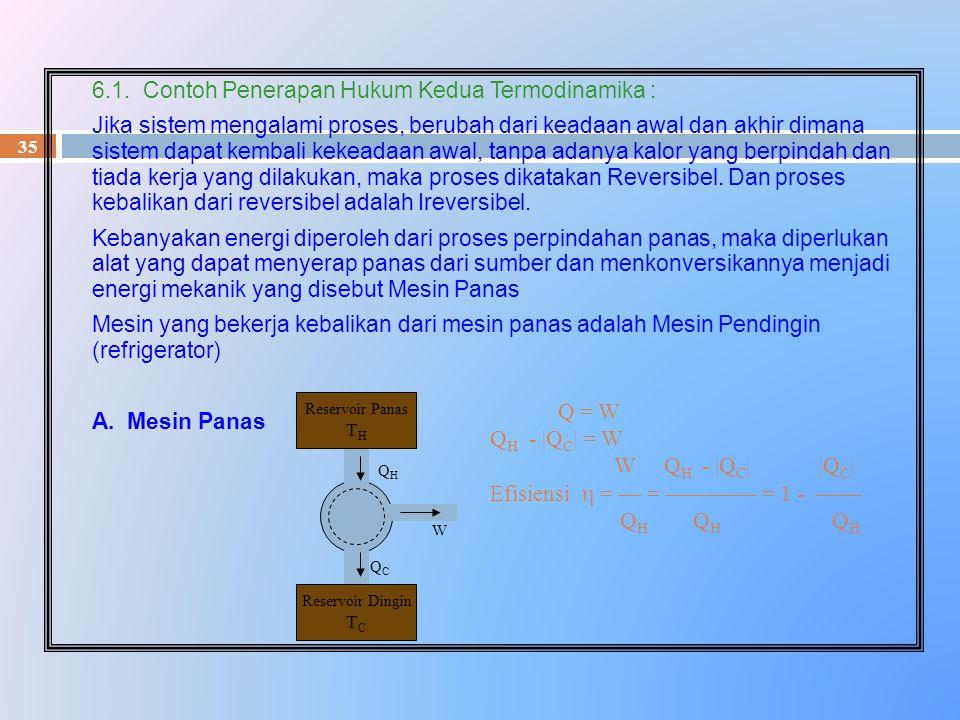 6.1. Contoh Penerapan Hukum Kedua Termodinamika :