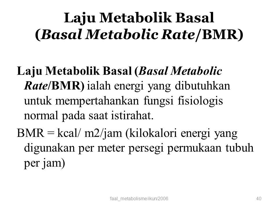 Laju Metabolik Basal (Basal Metabolic Rate/BMR)