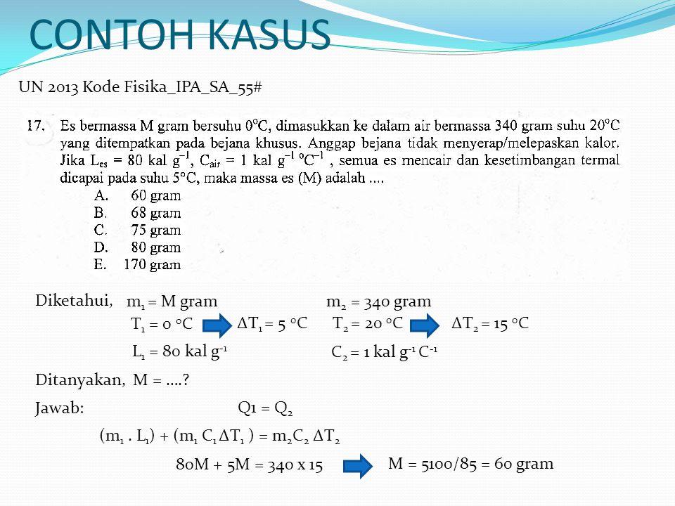 CONTOH KASUS UN 2013 Kode Fisika_IPA_SA_55# Diketahui, m1 = M gram