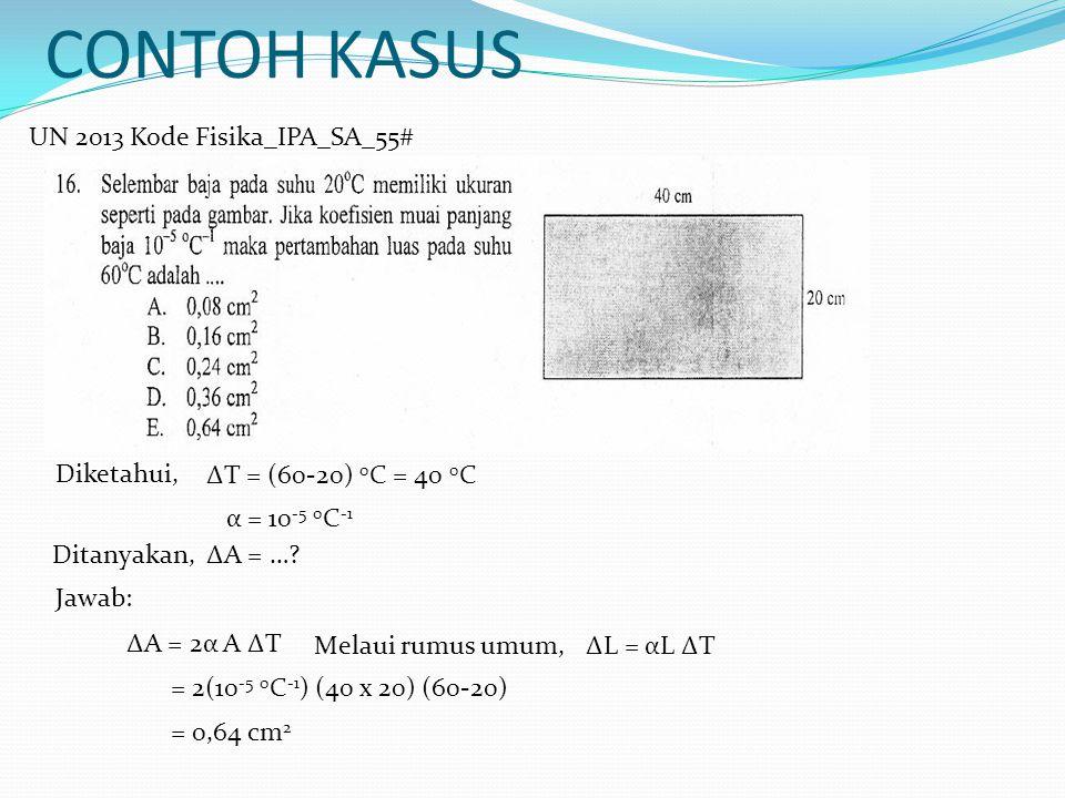 CONTOH KASUS UN 2013 Kode Fisika_IPA_SA_55# Diketahui,
