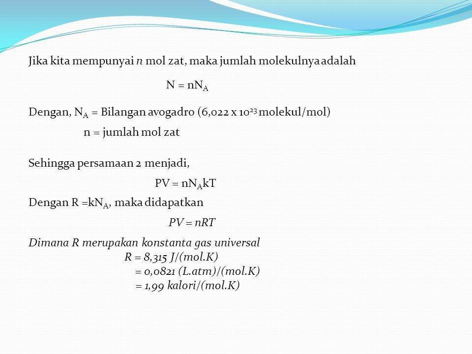 Jika kita mempunyai n mol zat, maka jumlah molekulnya adalah