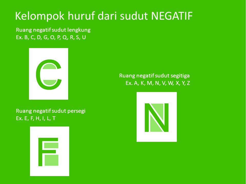 Kelompok huruf dari sudut NEGATIF