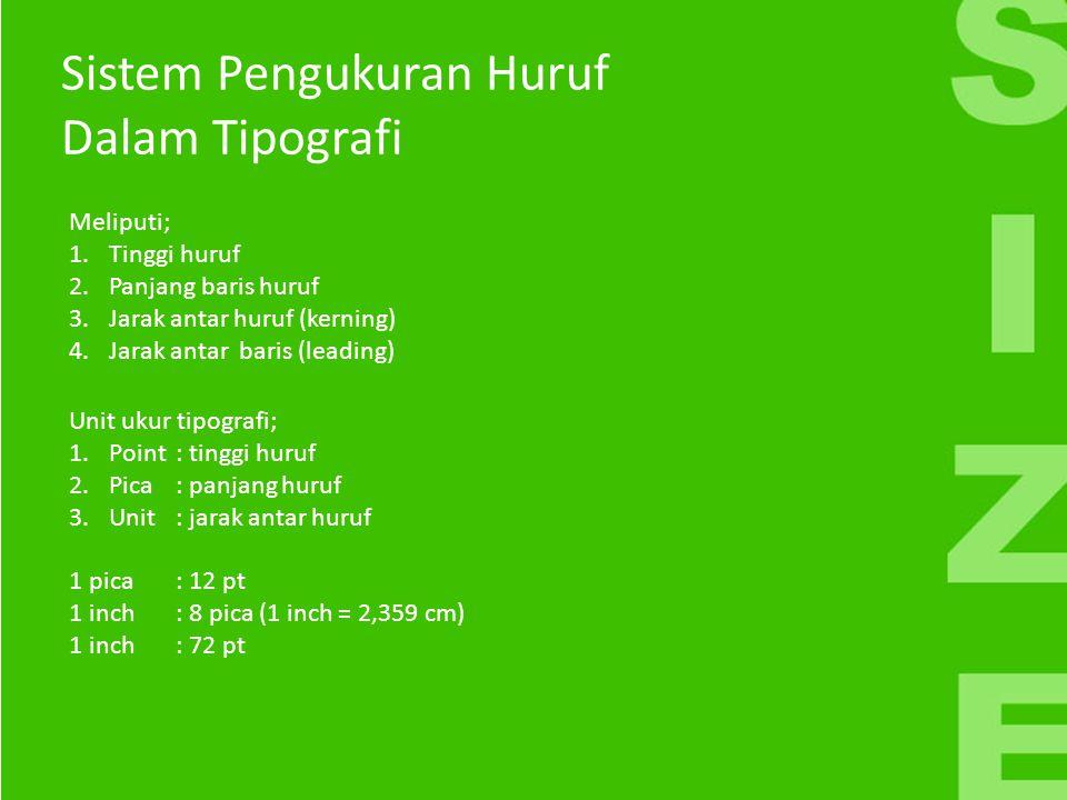 Sistem Pengukuran Huruf Dalam Tipografi