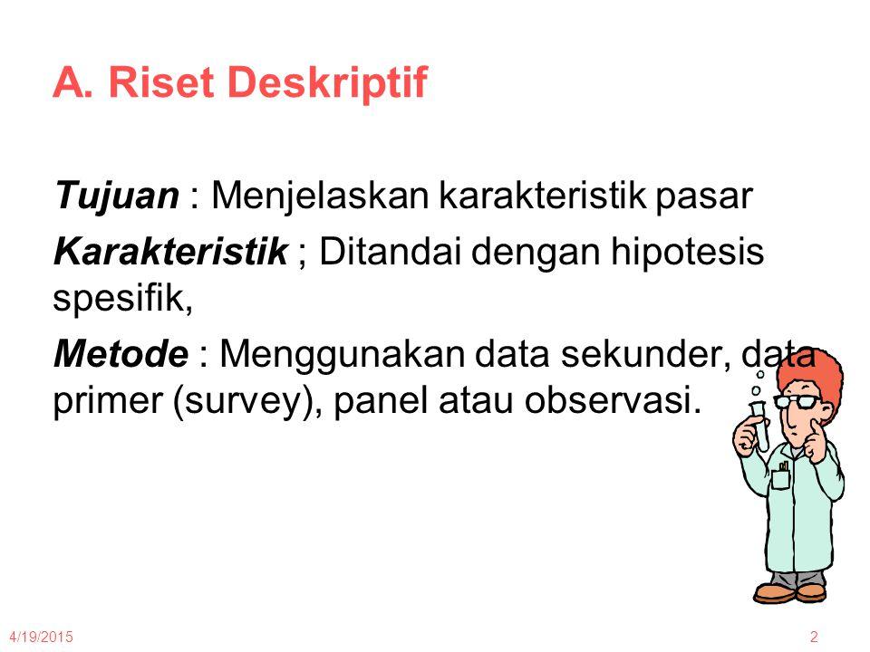 A. Riset Deskriptif Tujuan : Menjelaskan karakteristik pasar