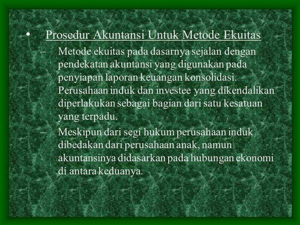 Prosedur Akuntansi Untuk Metode Ekuitas