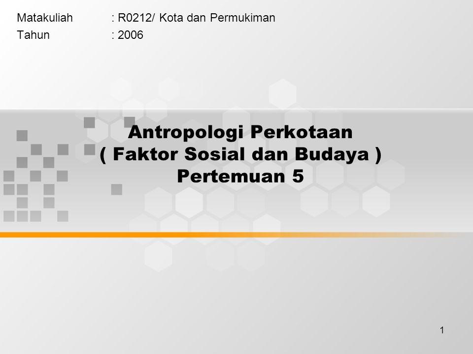 Antropologi Perkotaan ( Faktor Sosial dan Budaya ) Pertemuan 5