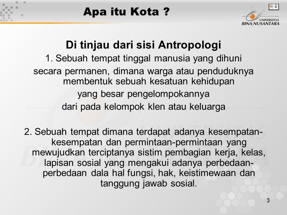 Di tinjau dari sisi Antropologi