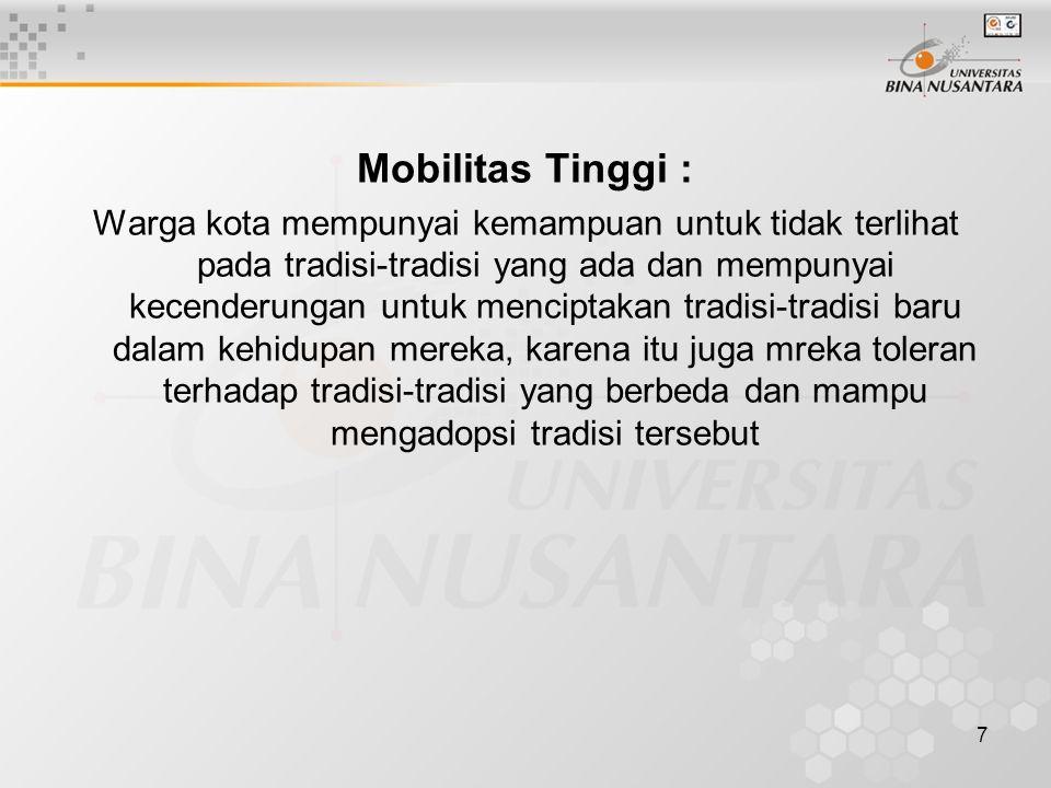 Mobilitas Tinggi :