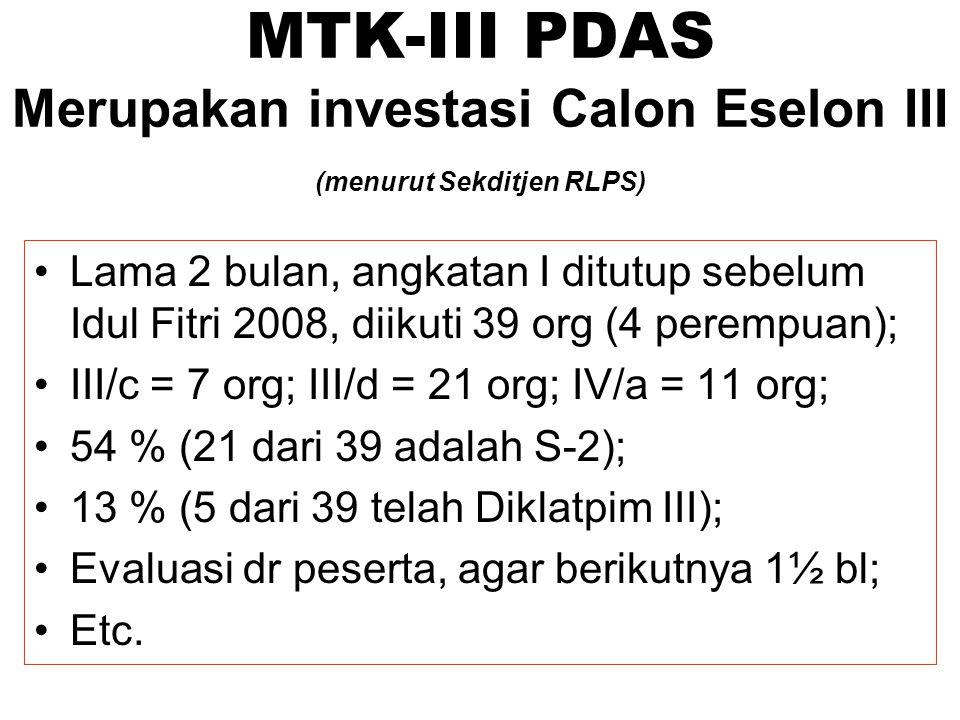 MTK-III PDAS Merupakan investasi Calon Eselon III (menurut Sekditjen RLPS)