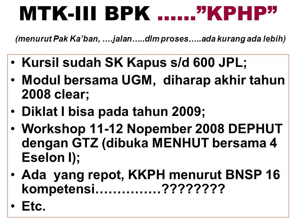 MTK-III BPK …… KPHP (menurut Pak Ka'ban, …. jalan…. dlm proses…
