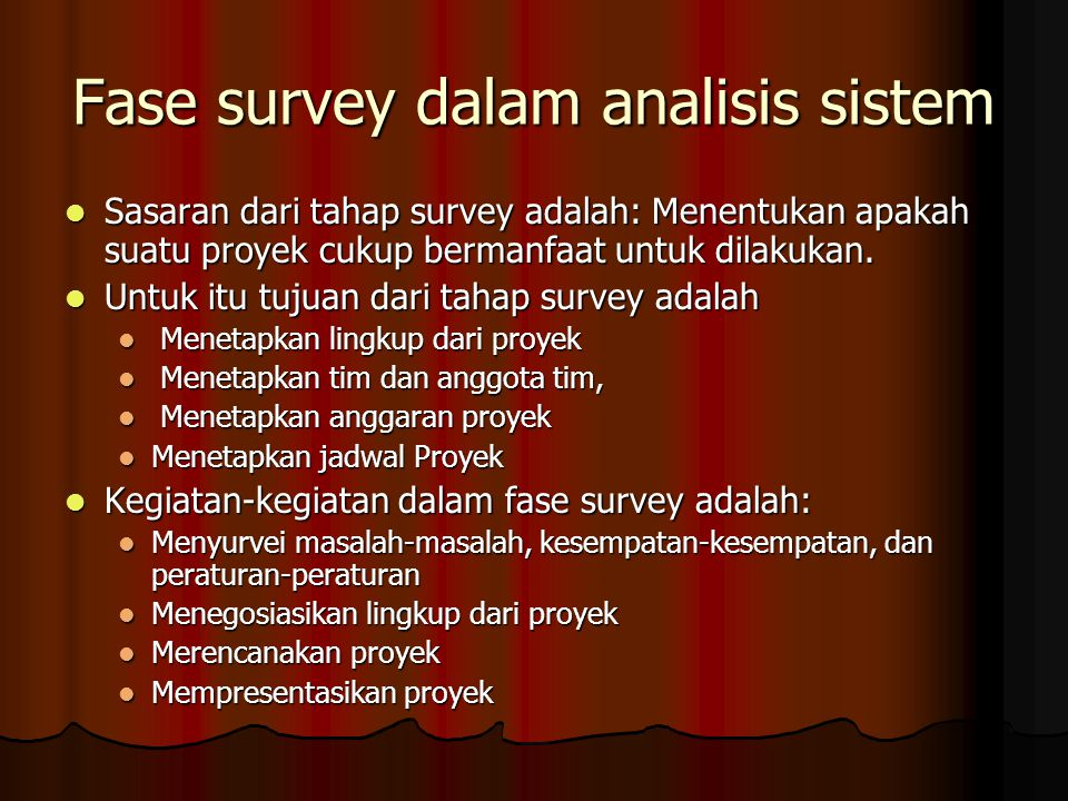 Fase survey dalam analisis sistem