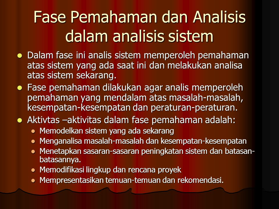 Fase Pemahaman dan Analisis dalam analisis sistem