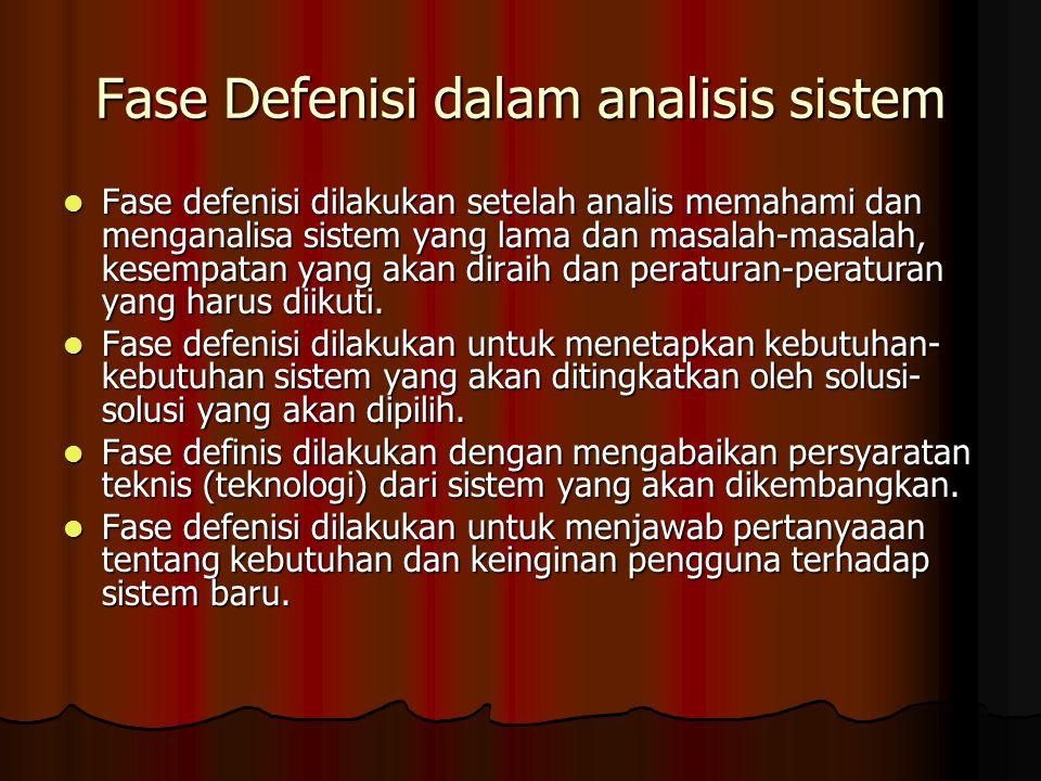 Fase Defenisi dalam analisis sistem