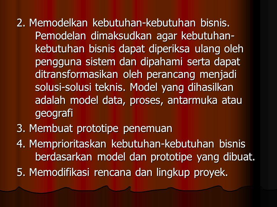 2. Memodelkan kebutuhan-kebutuhan bisnis