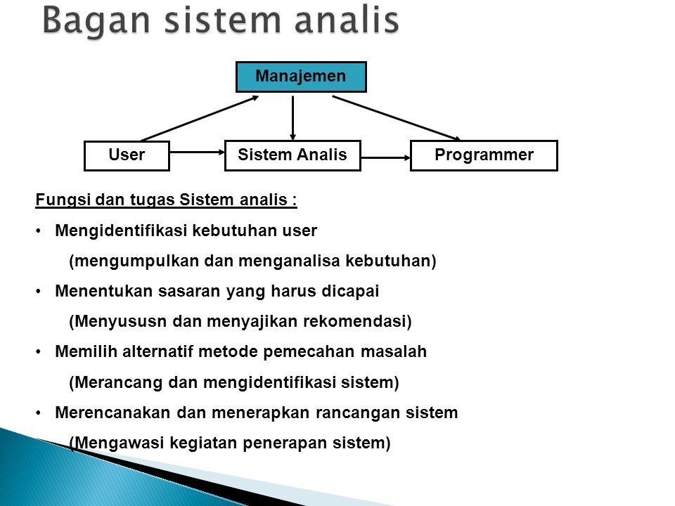 Bagan sistem analis Manajemen User Sistem Analis Programmer