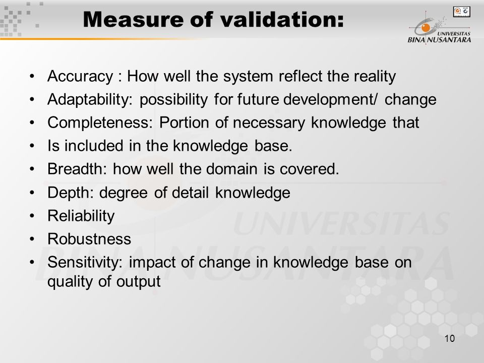 Measure of validation: