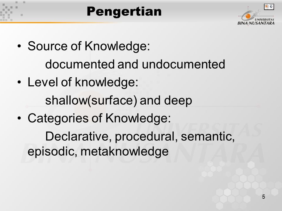 Pengertian Source of Knowledge: documented and undocumented. Level of knowledge: shallow(surface) and deep.