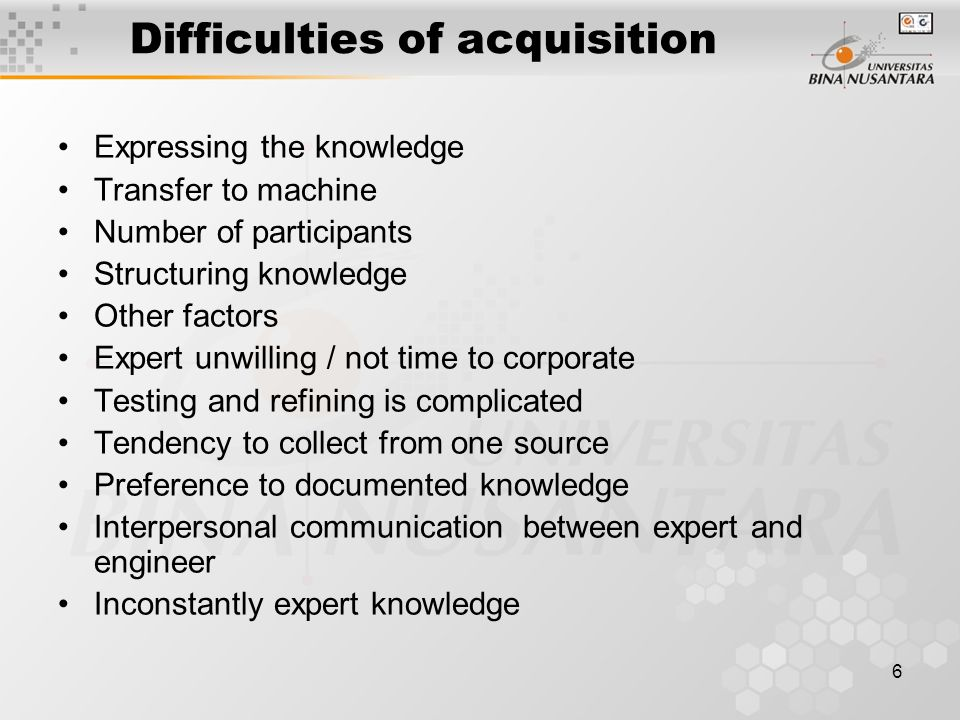 Difficulties of acquisition