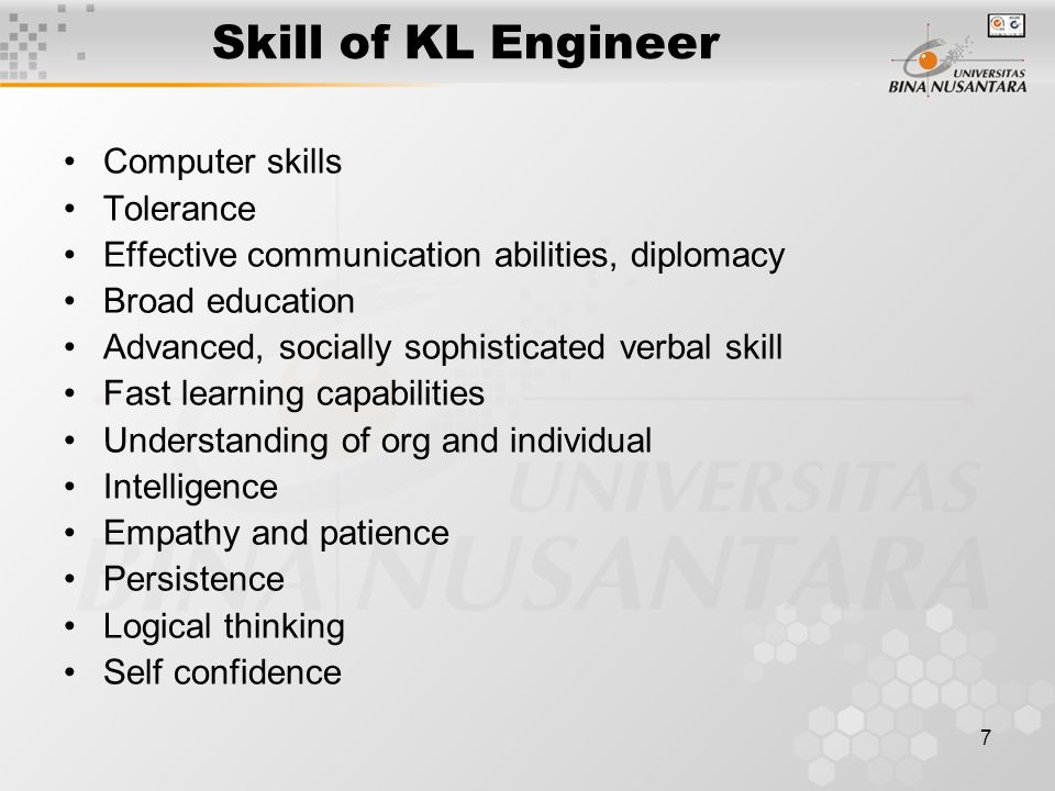 Skill of KL Engineer Computer skills Tolerance