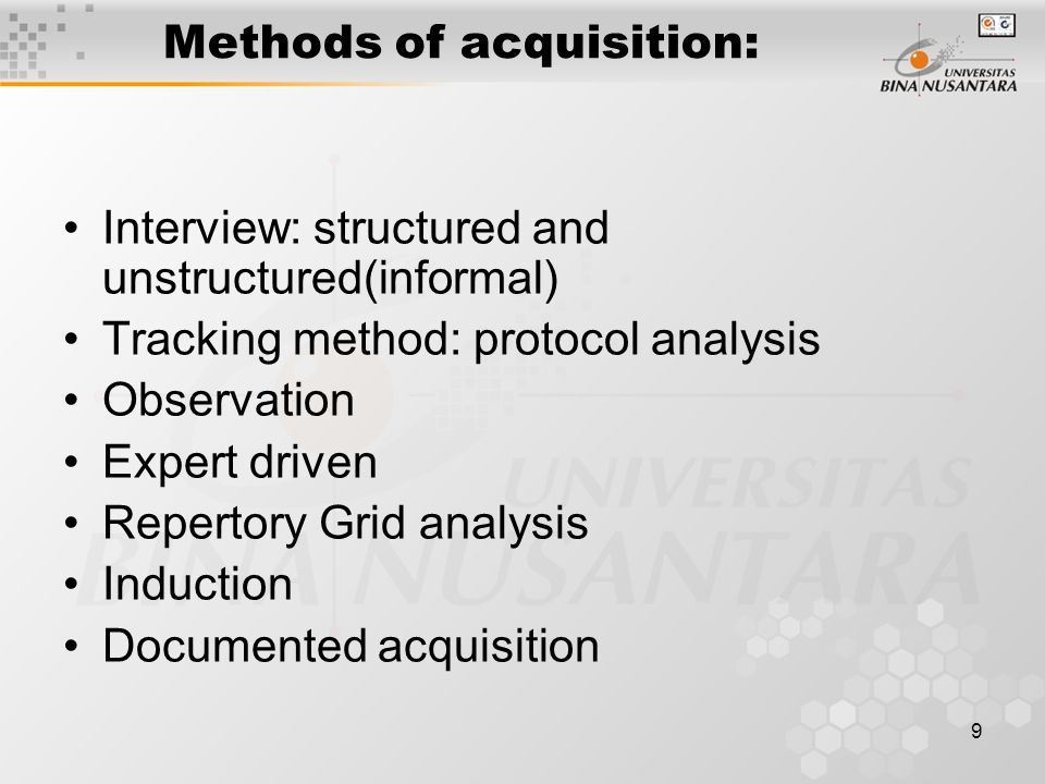 Methods of acquisition: