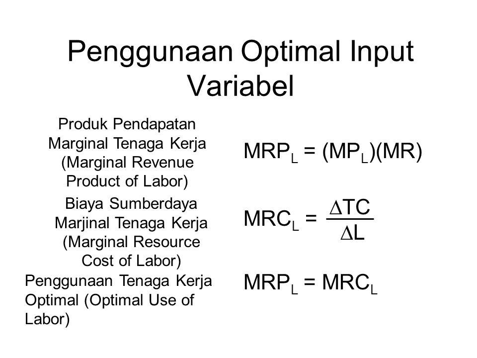 Penggunaan Optimal Input Variabel