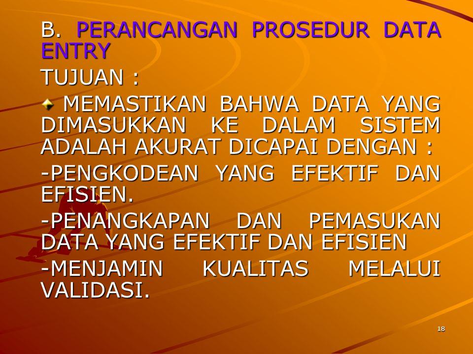 B. PERANCANGAN PROSEDUR DATA ENTRY