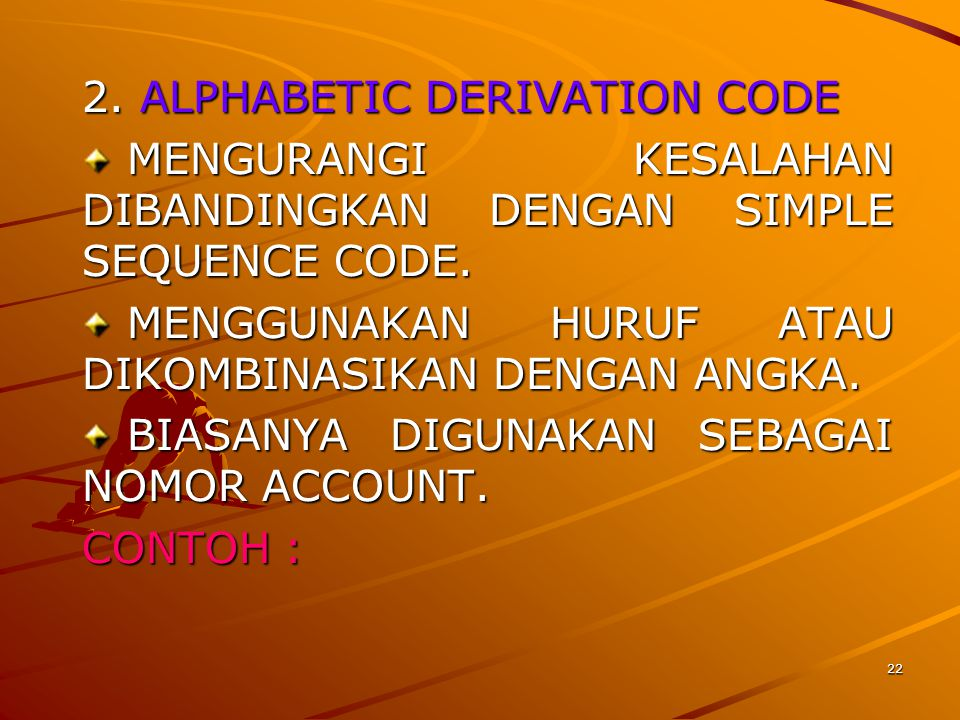 2. ALPHABETIC DERIVATION CODE