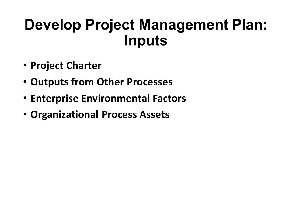 Develop Project Management Plan: Inputs