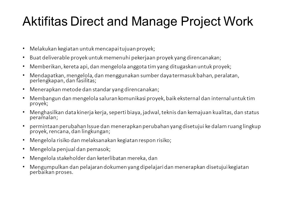 Aktifitas Direct and Manage Project Work