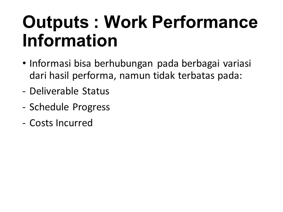 Outputs : Work Performance Information