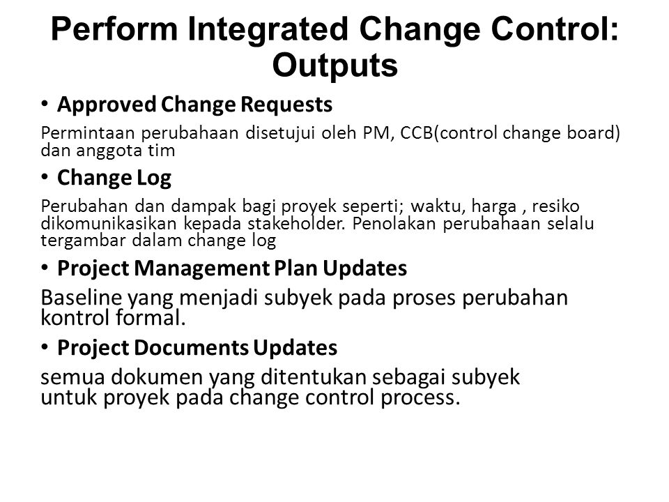 Perform Integrated Change Control: Outputs