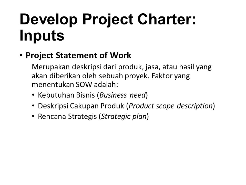 Develop Project Charter: Inputs