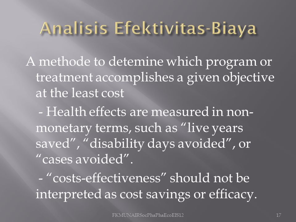 Analisis Efektivitas-Biaya