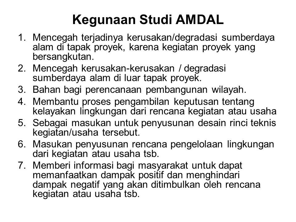 Kegunaan Studi AMDAL Mencegah terjadinya kerusakan/degradasi sumberdaya alam di tapak proyek, karena kegiatan proyek yang bersangkutan.