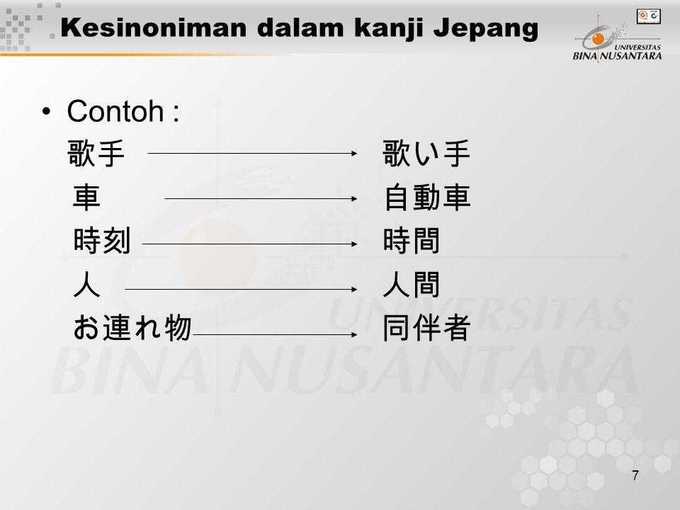 Kesinoniman dalam kanji Jepang