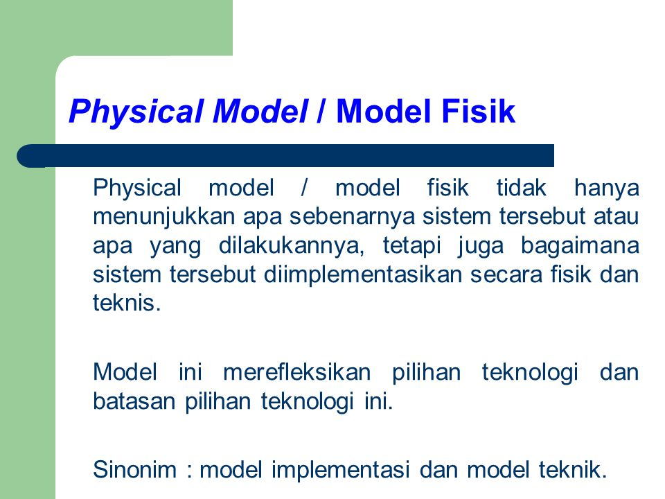 Physical Model / Model Fisik