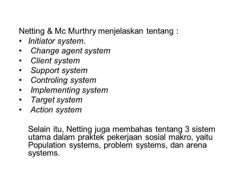 Netting & Mc Murthry menjelaskan tentang :